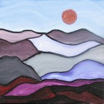 "Foothills Moon    $45.    8"" x 8""    (Acrylic on canvas)   #1341"
