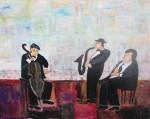 "Jazz Trio   $495.    30""x24""   Acrylic on canvas.  (#1295)"