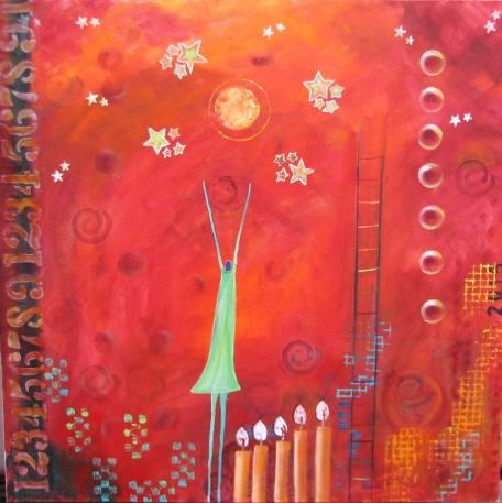 """Reach For The Stars. $975. 36"""" x 36"""" (Acrylic on canvas.) #1329"""
