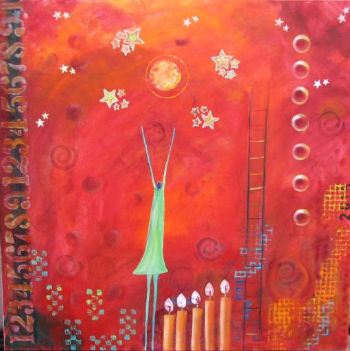 "Reach For The Stars. $975. 36"" x 36"" (Acrylic on canvas.) #1329"