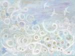 "Sea Foam    $795 40"" x 30""  Acrylic on canvas    (#1241)"