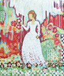 """Woman in White Dress    $395 20"""" x 24""""   acrylic on canvas      (#1291)"""