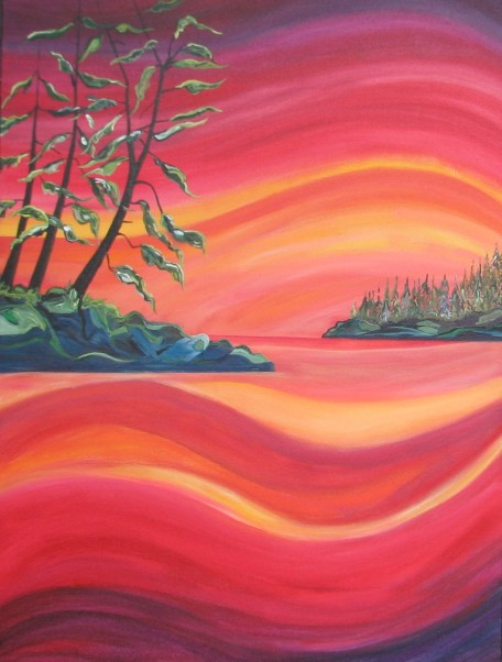 "Tofino Sunset $795. 30"" x 40"" Acrylic on canvas (#1299)"