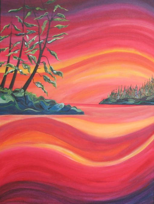 "Tofino Sunset $795. 30"" x 40"" Acrylic on canvas (#1299)"