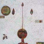 """Untitled   (globe and spire)   $275 24"""" x 24""""   (Acrylic on canvas) #1202"""