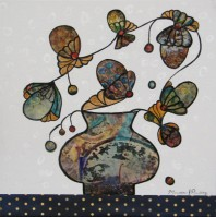 "Vase and Bouquet VI $250 12"" x 12"" Altered collage (#1288)"