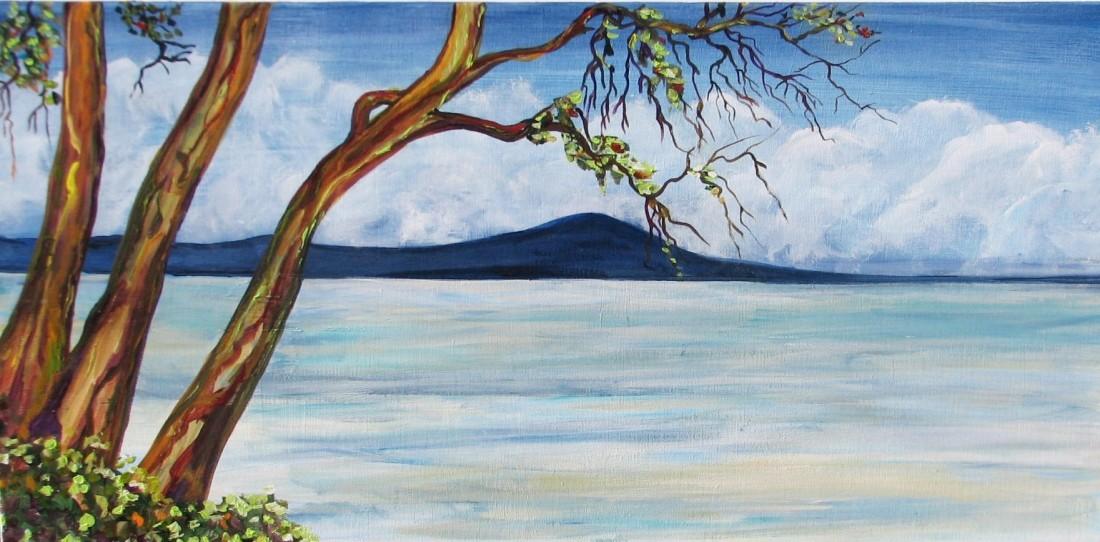 "Tigh-Na-Mara Beach View    $325     30"" x 15""    Acrylic on canvas   #   1334"