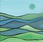 """Prairie Spring Moon    $45.   8"""" x 8""""   (Acrylic on canvas)   #1343"""