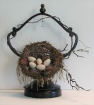 """The Feathered Nest.     12"""" x 14"""" x 7"""".  Three dimensional assemblage.   (#1349)  Scroll down for description."""