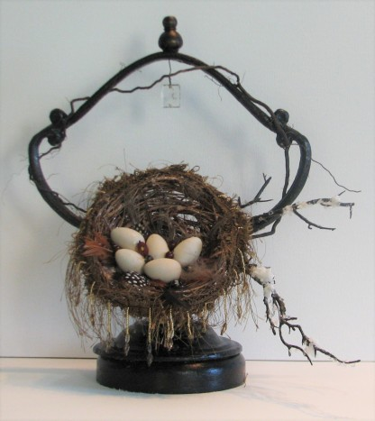 "The Feathered Nest. $395. Three dimensional assemblage. Seen in Arabella Magazine. 12"" x 14"" x 7"". (#1349) Scroll down for description."