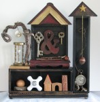 """Time and Place.     13.5"""" x 13.25"""" x 3.25""""    Three dimensional assemblage   (#1346)  Scroll down for description."""