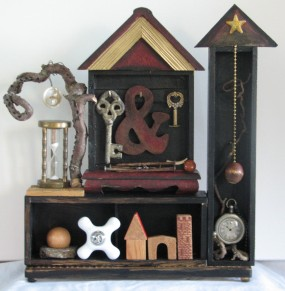 """Time and Place. 13.5"""" x 13.25"""" x 3.25"""" Three dimensional assemblage. Seen in Arabella Magazine. (#1346) Scroll down for description."""