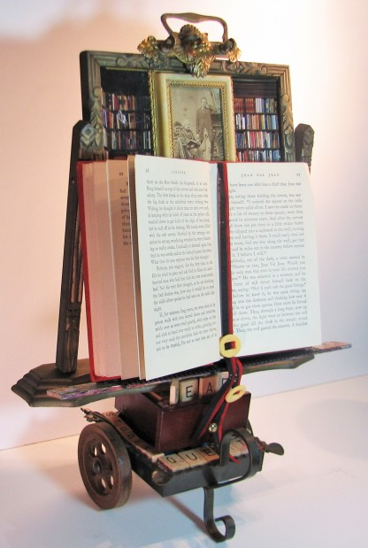 "Bookmobile: A Tribute to Teaching and Learning. $450. Three dimensional assemblage. Seen in Arabella Magazine. 12.5"" x 17.5"" x 8"". (#1353). Scroll down for description."