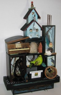 "Gathering Place. $895. Three dimensional assemblage. Seen in Arabella Magazine. 15"" x 24"" x 6.25"". (#1357) Scroll down for description."