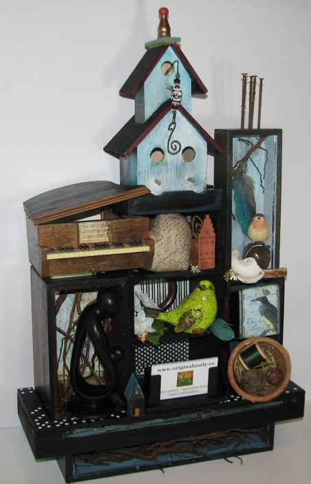 """Gathering Place. $895. Three dimensional assemblage. Seen in Arabella Magazine. 15"""" x 24"""" x 6.25"""". (#1357) Scroll down for description."""