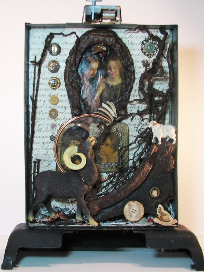 "Unfolding Story. $650. Three dimensional assemblage. Seen in Arabella Magazine. 11.5"" x 15.5"" x 4.75"". (#1358) Scroll down for description."