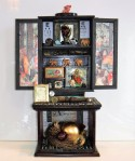 """Every Life Has a Story.  Mixed media 3-D assemblage.   15"""" wide x 22"""" tall x 6 1/8"""" deep.  (#1368)  Scroll down for description."""