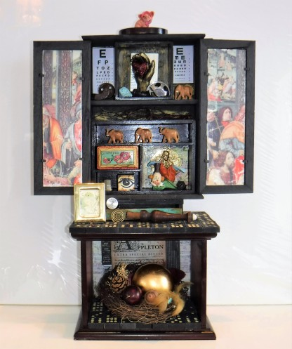 "Every Life Has a Story. $895. 3-D assemblage. Seen in Arabella Magazine. 15"" wide x 22"" tall x 6 1/8"" deep. (#1368) Scroll down for description."