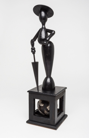 """Speaking Out. $395. 3-Dimensional assemblage as seen in Arabella Magazine. 4.75"""" wide x 17.5"""" tall x 5"""" deep. (#1371) Scroll down for description. (Photo credit: Boomer Jerritt)"""