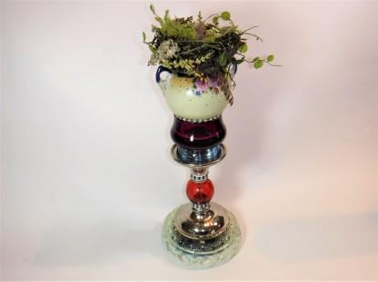 "Nest on Heirloom Pedestal. $275. Three dimensional assemblage. 6""w x 17""h x 6""d. (#1373)"