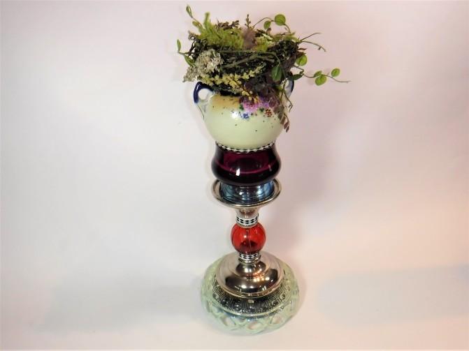 "Nest on Heirloom Pedestal. Three dimensional assemblage. 6""w x 17""h x 6""d. (#1373)"