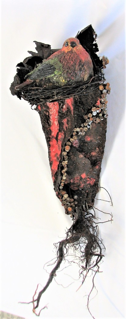 """Overlapping Fragments. SOLD. 3-dimensional assemblage. 7"""" wide x 20"""" tall x 8"""" deep. (#1403)"""