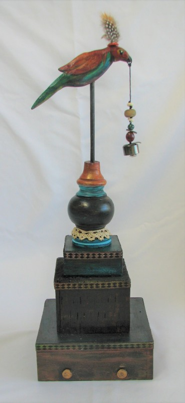 "Whimsical Bird. $275. 3-dimensional assemblage. 6.5"" wide x 20"" tall x 6.5"" deep. (#1405)"