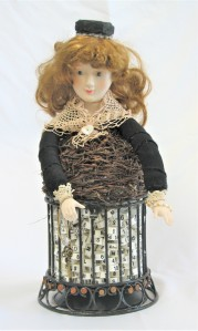 """She's So Fine. 3-dimensional assemblage. 7"""" wide x 15.5"""" tall x 7"""" deep. (#1406)"""