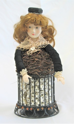 "She's So Fine. $275. 3-dimensional assemblage. 7"" wide x 15.5"" tall x 7"" deep. (#1406)"