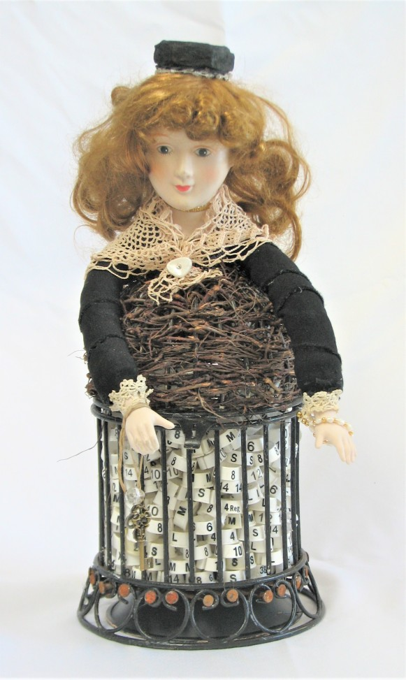 "She's So Fine. 3-dimensional assemblage. 7"" wide x 15.5"" tall x 7"" deep. (#1406)"