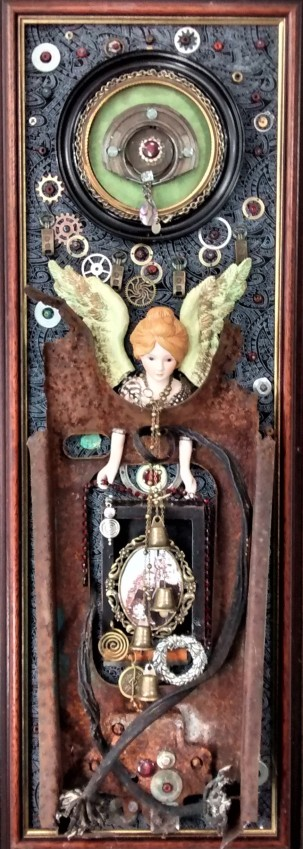 "Connections: Following Memories. $650. 3-dimensional assemblage sculpture. 10"" wide x 27"" tall x 3.75"" deep. (#1410)."