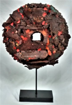 """Rusty Disk. SOLD. 3-dimensional assemblage. 14"""" x 21.5"""" x 3.5"""" (#1409)."""