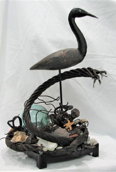 """From The Ocean. $695. Three dimensional assemblage. Seen in Arabella Magazine. 12"""" x 19.5"""" x 12"""" (#1359)"""