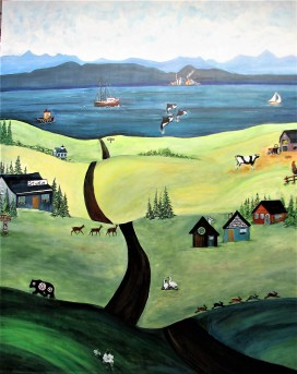"Valley of Plenty. $2300. Acrylic on canvas. 48"" x 60"" x 1.5"" (#1421)"