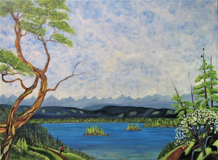 "West Coast Spring. $1295. Acrylic on canvas. 48"" x 36""x 1.5"" (#1424)"