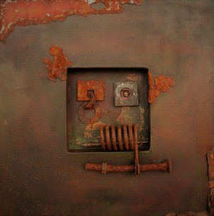 "Remnants. SOLD. 3-dimensional assemblage. 16"" x 16"" x 1.5"" (#1428)"