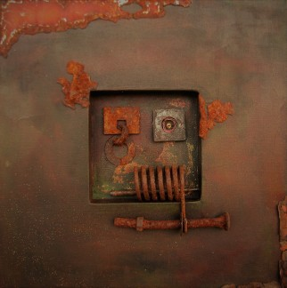 "Remnants. $350. 3-dimensional assemblage. 16"" x 16"" x 1.5"" (#1428)"
