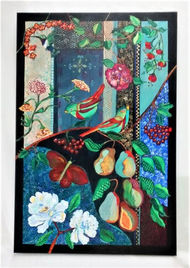 """My Heart Is A Garden. $1200. Acrylic on canvas. 24"""" x 36"""" x 1.5"""" (#1431). Part of the """"Colour Stories"""" series. See Blog entry of Nov. 13, 2018 for background on series."""