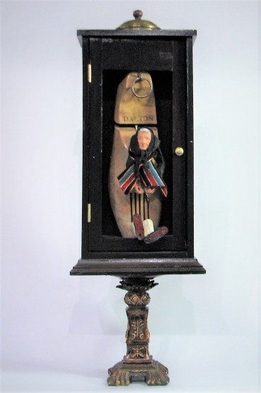 Old Woman Who Lived in a Shoe … $275. 3-dimensional assemblage. (#1412). Scroll down for description.