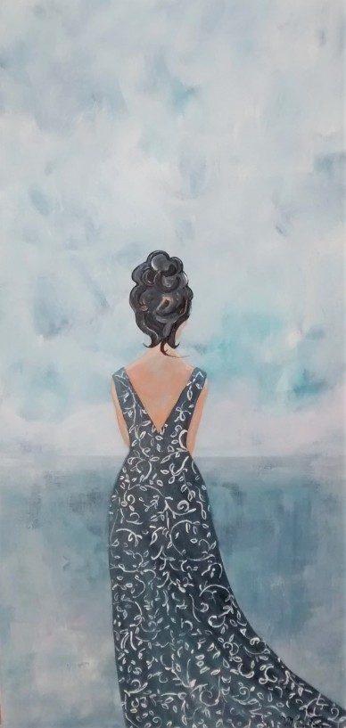 "Contemplation II. $325. Acrylic on canvas. 15"" x 30"" x 1.5"" (#1439)"