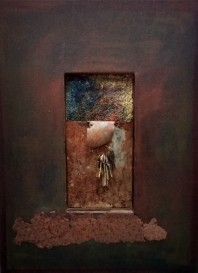 "Passages. $595. Three dimensional assemblage. 18"" x 24"" x 2"". (#1453)"
