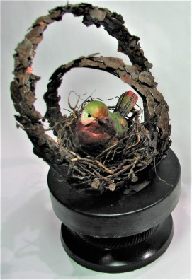 """Shelter. $250. 3-dimensional assemblage. 6"""" x 10.75"""" x 6"""". (#1455)"""