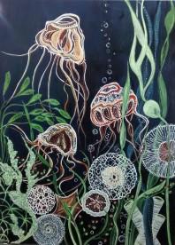 """Sea Dance $995. Acrylic on canvas. 30"""" x 40"""" x 1.5"""" (#1345)"""
