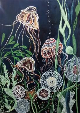 "Sea Dance SOLD. Acrylic on canvas. 30"" x 40"" x 1.5"" (#1345)"