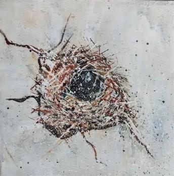 "Nest #3. SOLD. Acrylic on canvas. 12"" x 12"" x 1.5"" (#1464)."