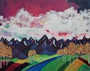 "Autumn Glow II. $495. Acrylic on canvas. 30"" x 24"" x 1.5"". (#1179)"