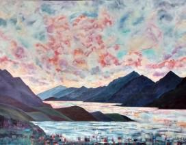 "Coastal Dance. $1195. Acrylic on canvas. 48"" x 36"" x 1.5"" (#1347)"