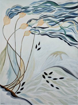 """With The Tides. $1295. Acrylic on canvas. 36"""" x 48"""" x 1.5"""" (#1468)."""