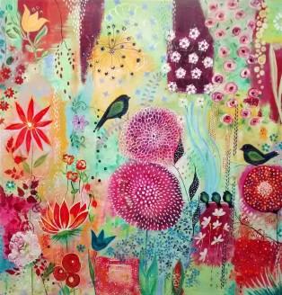 """Garden Song. $1595. Acrylic on canvas. 8"""" x 48"""" x 1.5"""" (#1479)"""