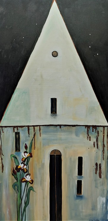 "Manor House -- Iris. $895. Acrylic on canvas. 24"" x 48"" x 1.5"" (#1480)"